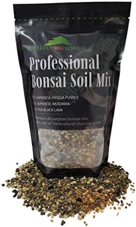 Bonsai Soil Mix - Premium Professional, All Purpose, Sifted and Ready to Use Tree Potting Blend in Easy Zip Bag - Akadama, Black Lava, Pumice & Charcoal -