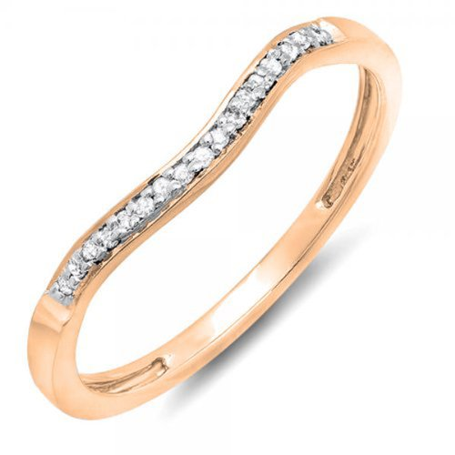 Dazzlingrock Collection 0.10 Carat (ctw) 10K Round Diamond Ladies Anniversary Wedding Guard Band 1/10 CT, Rose Gold, Size 7.5 ()