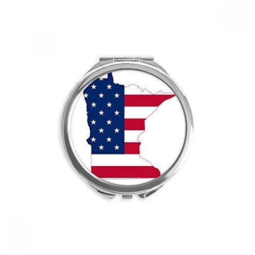 Minnesota USA Map Stars Stripes Flag Shape Mirror Round Portable Hand Pocket Makeup