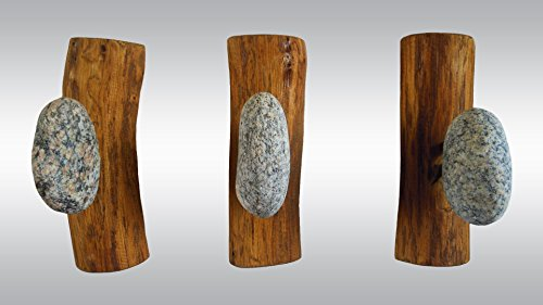 3 pcs Stone Hooks - Robe hanger - Coat Rack with Beach stones. Rock towel hangers. Smoothed Beach Stone Hook - Wall mounted solid wood coat rack by LEDinStone