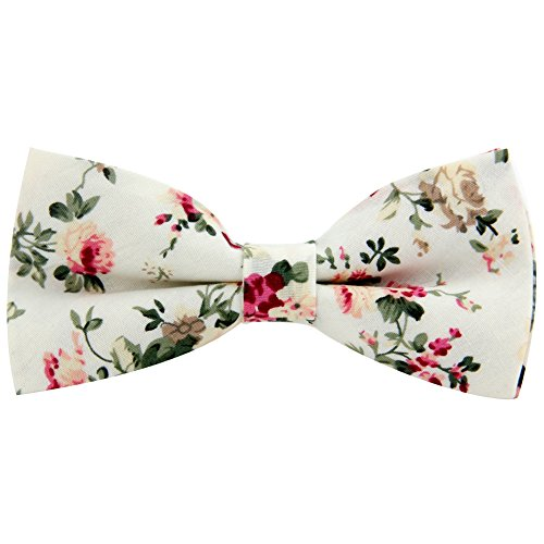 Mantieqingway Mens Cotton Floral Bow