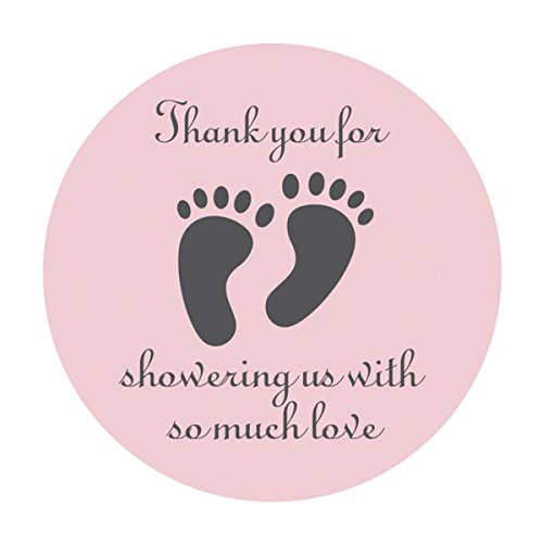 MAGJUCHE Pink Little Feet Baby Shower Stickers, 2 Inch Thank You for Showing Us, Girl Baby Shower Party Favor Labels, 40 - Pack