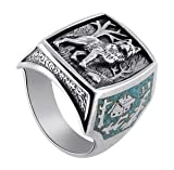 Gem Avenue Men's 925 Sterling Silver Turquoise Gemstone Southwestern Style Wolf Ring