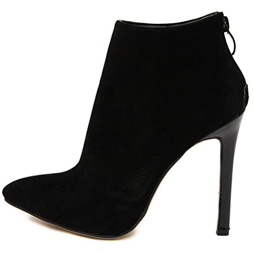 High MMJULY Toe Stiletto Pointed Booties Zip Dress Up Black Ankle Suede Heels Women's xxZpqnCwfg