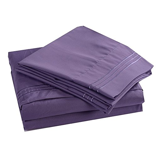 4PC Bedding Sheet Set, Sheet & Pillowcase Sets - Full, Light Purple