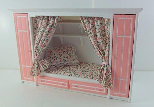 Cama empotrada con armarios en rosa y blanco para casa de - Cama empotrada en armario ...