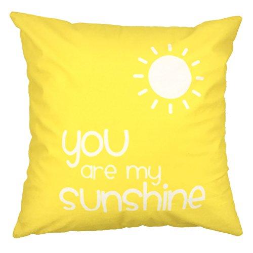 Do4U Cotton Linen Home Decor Sofa Throw Pillow Cover Cushion Case 18 x 18 inch (Alphabet) (Sunshine) (Pillow Sun)