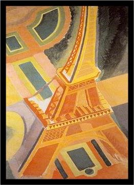 (Buyartforless IF 36081 1.25 Black Plexi Framed Eiffel Tower by Robert Delaunay 36X24 Art Print Poster France Abstract)