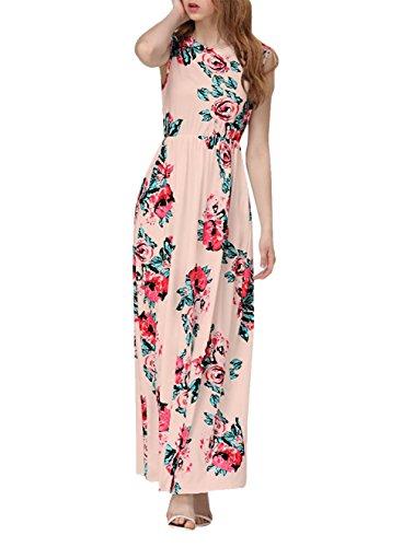 Yidarton Women's Summer Spring Classic Evening Party Beach Floral Long Maxi Dress (XX-Large, Pink2) (Fancy Dress Size 20)