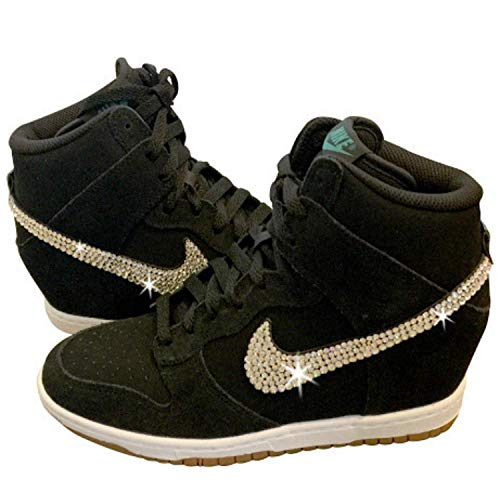 38792a7c9fd3 Amazon.com  Women s Swarovski NIKE DUNK SKY HIGH Custom ALL BLACK Bedazzled  Kicks SparkleBoutique2U  Handmade