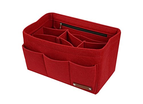 JN & GRACE Felt 13-pocket Zipper Handbag Insert Purse Organizer for women (3 sizes, 5 colors) (X-Large, Red)