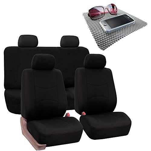 (FH Group Bright Flat Cloth Full Set Car Seat Covers,Solid Black w. Free GIFT- Fit Most Car, Truck, Suv, or Van)