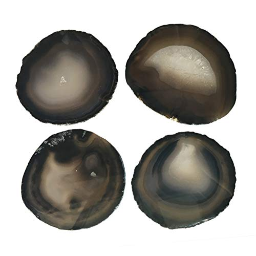 (Natural Black Agate Coasters Set of 4 Tabletop Protection Polished Agate Stone Sciles 3-3.5