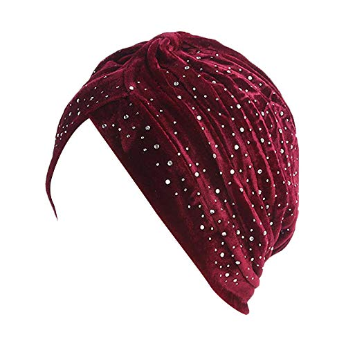 Egmy HatWomen's Ladies Gold Velvet Hot Drilling Crossover Indian Hat Muslim Stretch Turban Twist Color Cap Solid Color Hat Pleated Hat Chemo Cap Hair Loss Wrap Diamond Large Laminated Hat (Wine)