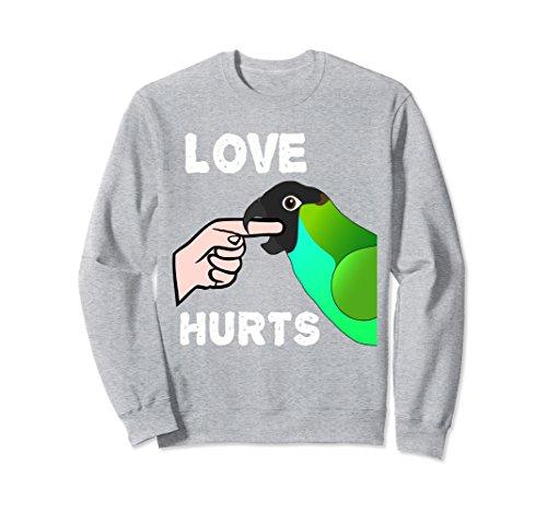 nday Conure Parrot Biting Sweatshirt Medium Heather Grey (Nanday Conure)