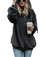 Imily Bela Womens Sherpa Loose Hoodies Zip Winter Slouchy Warm Fleece Sweatshirts Outwear Pockets