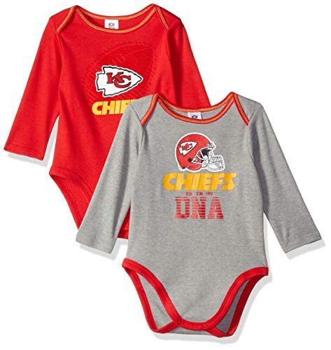 NFL Kansas City Chiefs Unisex-Baby 2-Pack Long-Sleeve Bodysuits, Red, 6-12 Months ()