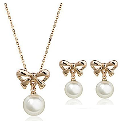Fashion Lady Alloy Imitation Pearl Bowknot Stud Earrings Necklace Jewelry Set