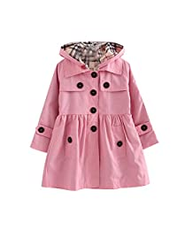 FREE FISHER Little Girls Wind Coat with Detachable Hood