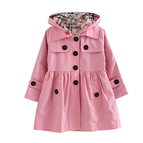 - LSERVER Little Girls A-line Single Breasted Hooded Cotton Trench Coat Jacket Pink Tag-100/2-3 Year