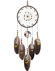 TESION Dream Catchers Brown Handmade Feather Dreamcatcher, Tree of Life Native American Dreamcatcher Circular Net for Bedroom Wall Hanging Home Decor Wedding Party Blessing Gift