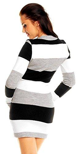 maglia Nero a Pullover lungo Vestito righe Zeta aderente Ville Donna 405z pHWn1qUE