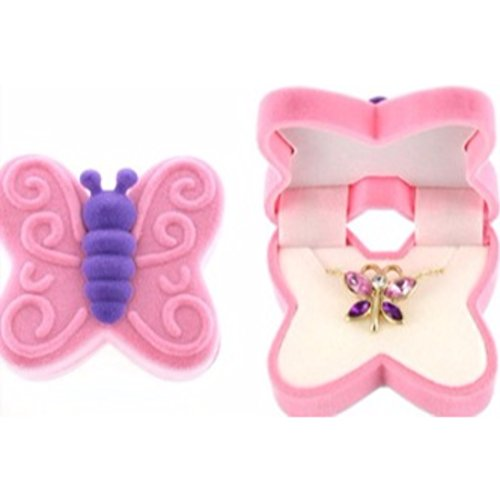 BUTTERFLY Necklace Charm Pendant w/ Crystal Wings in a Butterfly shaped Velour Gift Box (Huntress Necklace)