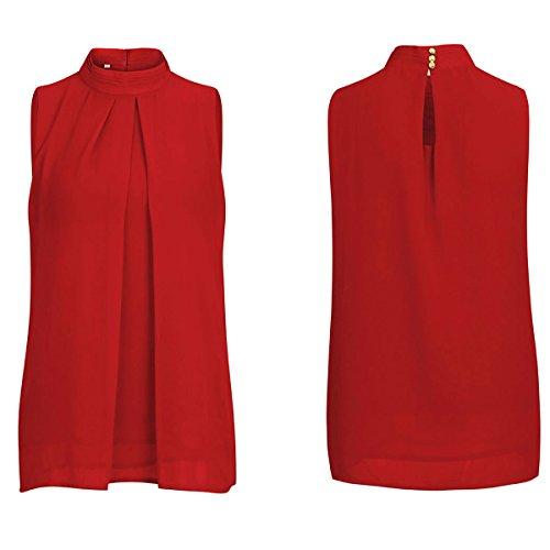 en Mousseline Haute sans lgante Soie Dbardeurs Chemises Causales Femmes Tops Dentelle Blouse Cou Couche Manches Tunique Red De Double xnqwY0xAEI