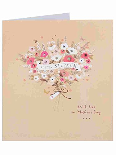 Stepmum - Wildflower Bouquet Glitter lovely Mother's Day Greeting Card