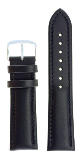 [Mens Genuine Italian Leather Watchband Chronograph Style Black 20mm Long Watch Band - by JP Leatherworks] (Leather Genuine Chronograph)