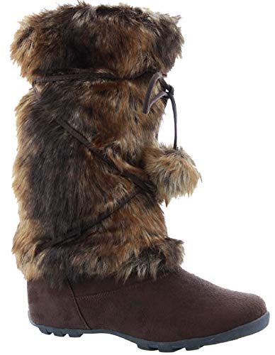 BlossomTalia-Hi Women Mukluk Faux Fur Winter Boot Brown 7.5