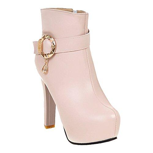 Johannesbroeken Dames Zip Gesp Mode Elegantie Platform Hoge Hak Jurk Laarzen Roze
