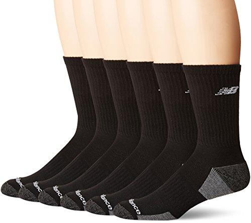 New Balance Performance Training Crew Socks (6 Pair), Black/Grey, - New Performance Balance