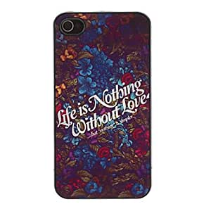 hao Life is Nothing Without Love Pattern Aluminium Hard Case for iPhone 4/4S