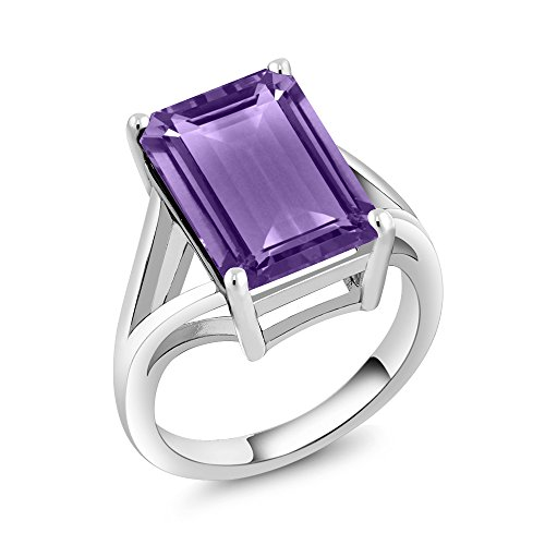 - Gem Stone King 7.00 Ct Emerald Cut Purple Amethyst 925 Sterling Silver Gemstone Birthstone Solitaire Ring (Size 7)