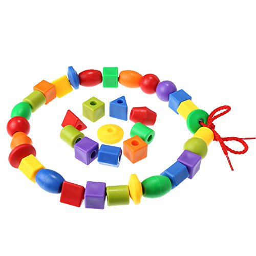 TOODOO String Beads with 100 Beads, 10 Strings and Lacing Beads Set for Toddlers Preschool Learning Occupational Autism