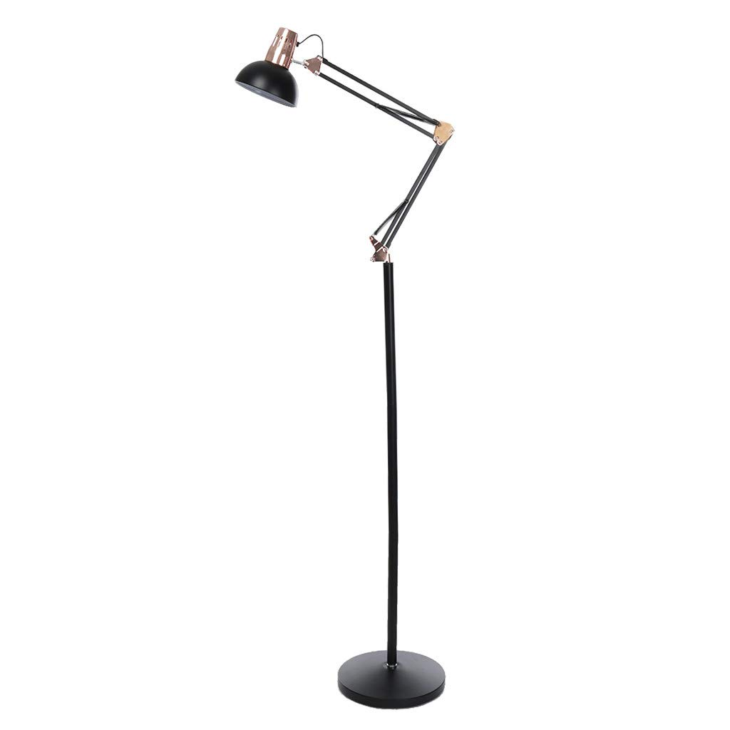 Swing Arm Desk Lamp, Adjustable Height Rocker Armrest Table Lamp Bedside Table Metal Floor Lamp Architect Standing Lamp Adjustable Head Reading Light Perfect for Reading Study Work Office (Black)