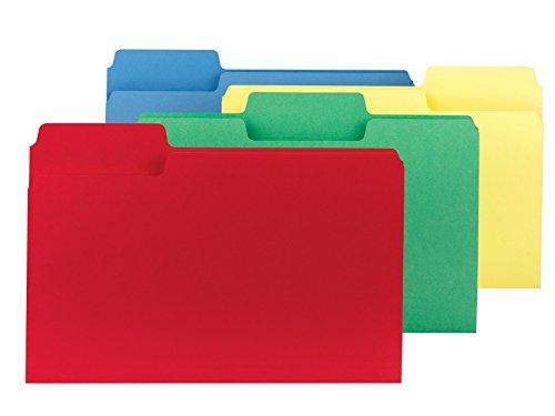 (Smead SuperTab File Folder, Oversized 1/3-Cut Tab, Legal Size, Assorted Colors, 100 per Box (11988))