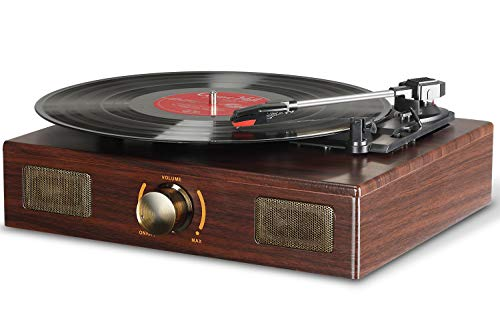 LuguLake Vinyl Record Player, LuguLake Turntable with Stereo 3-Speed, Record Player, and RCA Output, Vintage Phonograph with Retro Wooden Finish (Matt Finish) (Antique Vinyl Record Player)