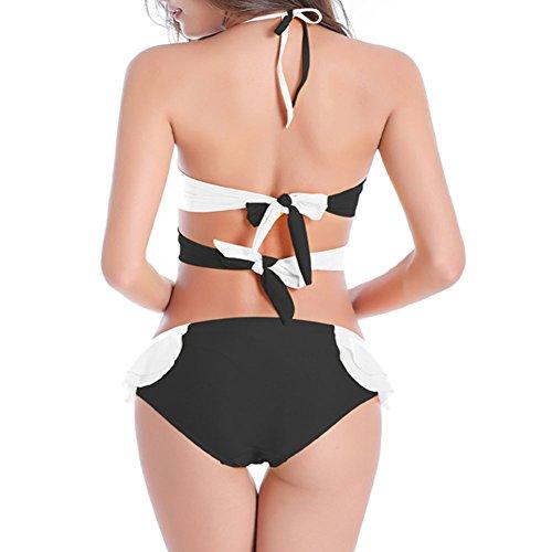 Xinvision Mode Casual Bandage Couleur Assortie Maillot De Bain Plage Bikini Taille Plus Soleil Pousser Vers Le Haut Suitdress De Maillots De Bain D'été Pour Les Femmes Noires Blanc