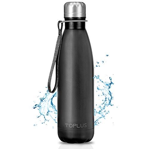 TOPLUS Botella de Agua Acero Inoxidable 304 Termo - 500ml, Termo Sin BPA Ecologica Reutilizable, Botella Termica con Pajita y Filtro para Ninos & Adultos, Deporte(Black)
