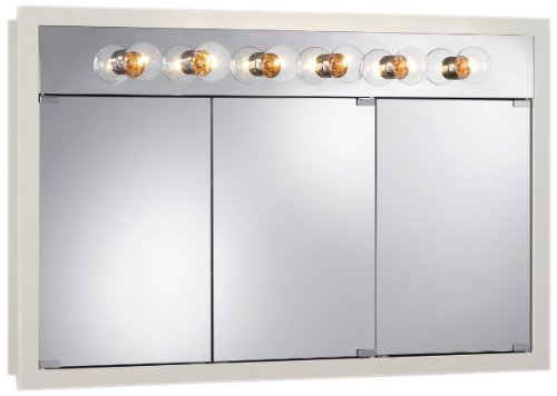 Jensen 755387 Granville Lighted Medicine Cabinet with Six Bulbs, Classic White, 48-Inch by 30-Inch by 4-3/4-Inch by Jensen
