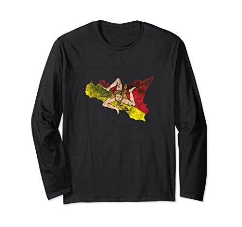 Unisex Sicily Flag and Map Sicilian Pride Long Sleeve T-Shirt XL: Black (Sicilian Unisex T-shirt)