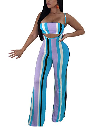 Women 2 Piece Outfits Clubwear Sexy Tube Crop Top Wide Leg Flare Bell Bottom Suspender Pants Set Stripes Jumpsuit Light Blue S for $<!--$26.99-->