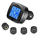 Tire Pressure Monitoring System, Cigarette Lighter Plug LCD Display with Tire Pressure, Temperature Gauge and Battery Voltage, Wireless TPMS with 4 External Sensors for Home Motor, Black