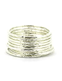 JWEIMIN1982 Lotsale 9 Pieces Genuine 925 Sterling Silver Hammered Stacking Rings