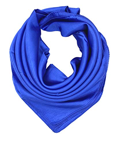 YOUR SMILE Pure Blue Silk Feeling Scarf Women