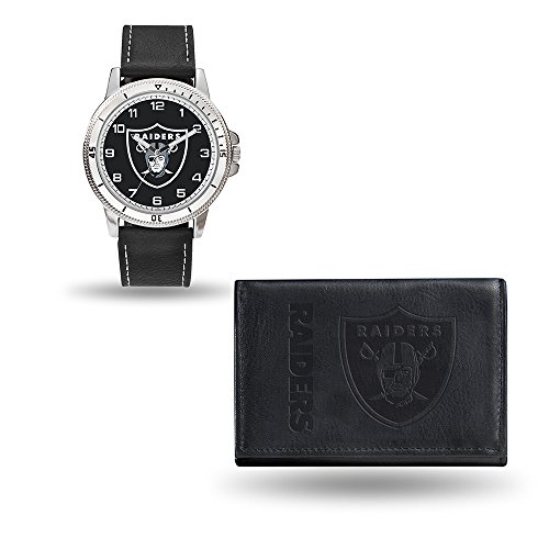 Rico NFL Men's Watch and Wallet Set WTWAWA1705, Oakland Raiders - Leather Nfl Watch