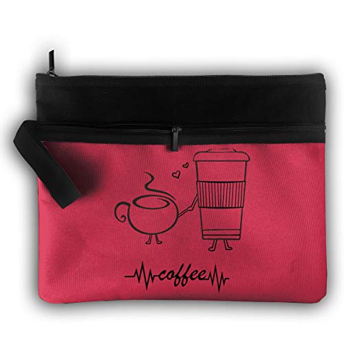 Handsome Double Zipper Smooth Double Layer Package Expansion Pack Wake Up Coffee Heartbeat I Love Coffee