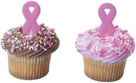 Magnificent Amazon Com Cakedrake Breast Cancer Light Dark Pink Ribbon 24 Personalised Birthday Cards Beptaeletsinfo